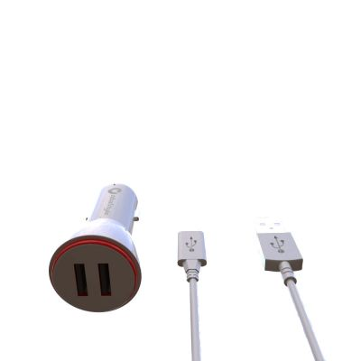 100CM 2.1A DUAL USB CAR CHARGER WITH V8 MICRO USB CABLE