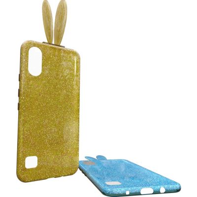 DOUBLE LAYER AND GLITTER HARD COVER CASE WITH BUNNY EARS